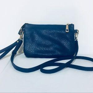 Handbags - Faux Leather Blue Crossbody Clutch Purse